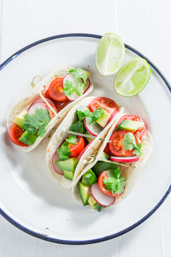 Vegetarian tacos as a snack for a party stock image