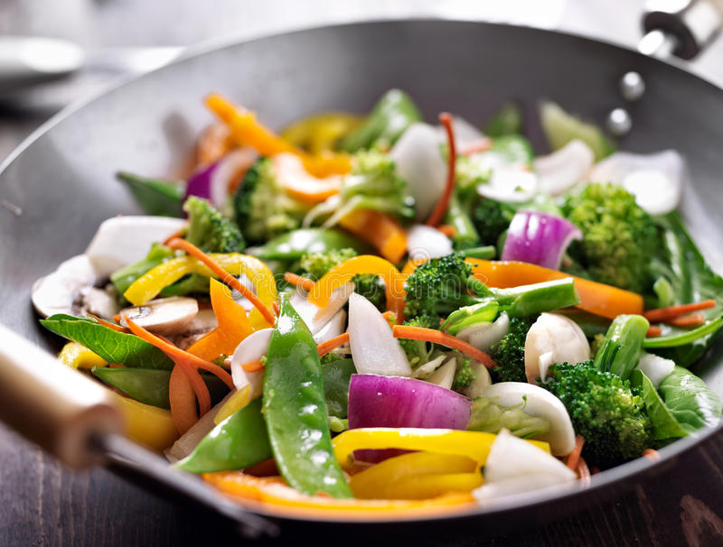 Vegetarian wok stir fry. Close up photo of a vegetarian wok stir fry royalty free stock images