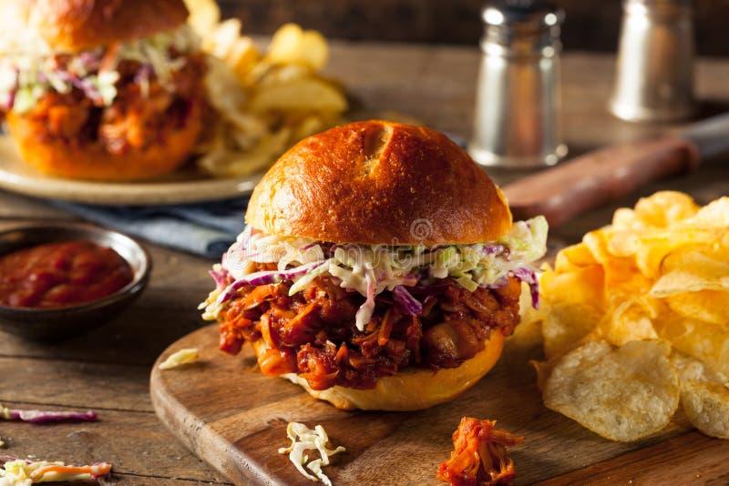 Vegetariano caseiro sanduíche puxado do BBQ do Jackfruit fotografia de stock
