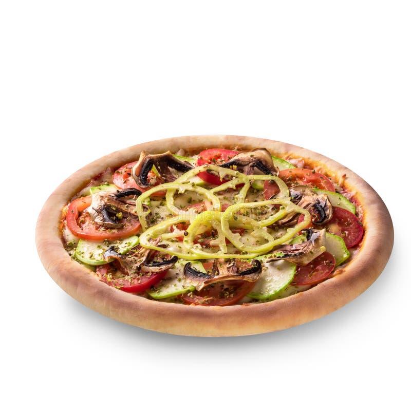 Vegetariano della pizza del fungo su fondo bianco isolato fotografia stock libera da diritti