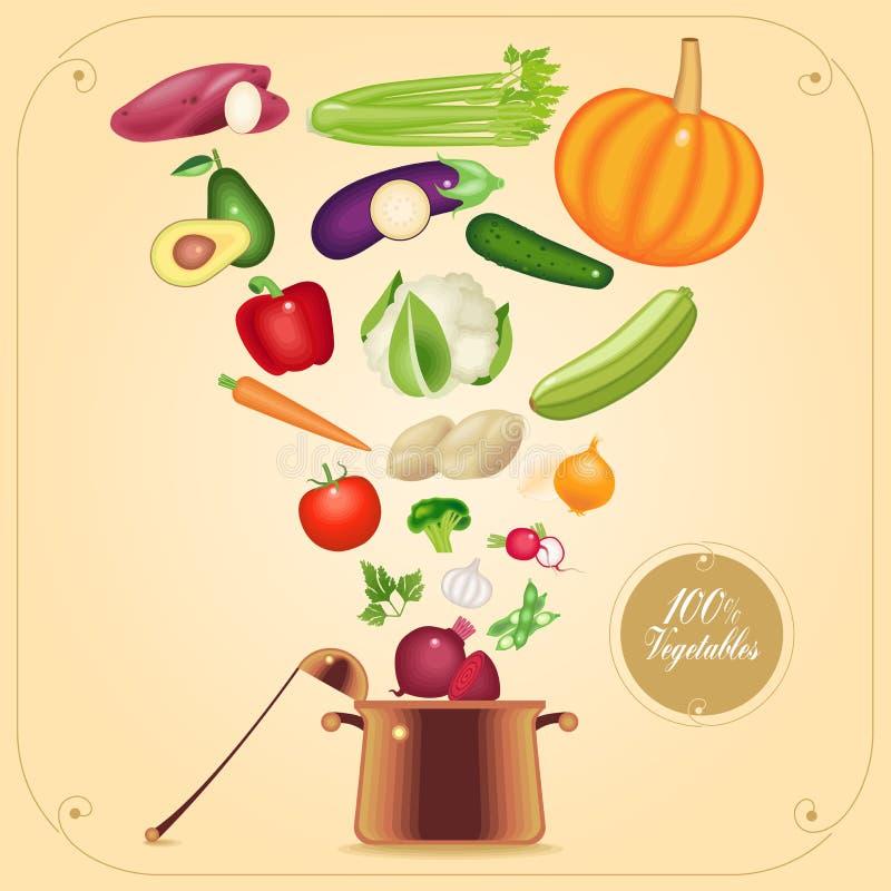 Vegetariano saudável que cozinha a ilustração do vetor do conceito ilustração do vetor