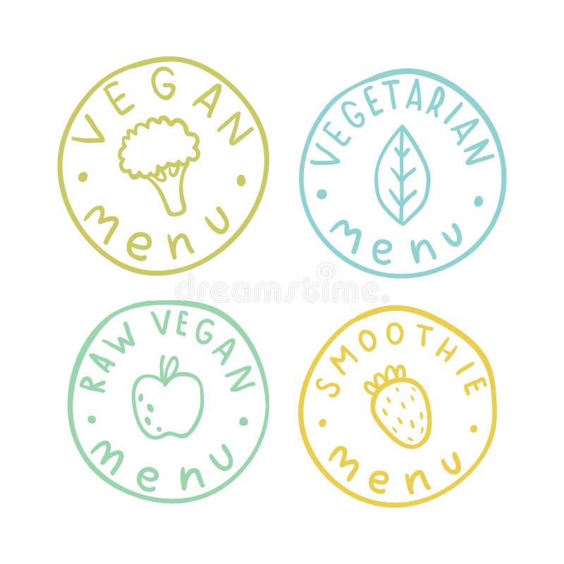 Vegetariano, vegetariano, cru, crachás do menu do batido ilustração do vetor