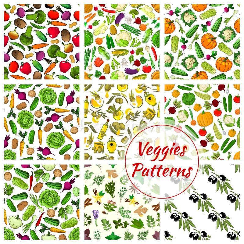 Vegetarianos, especiarias, testes padrões dos vegetais das ervas ajustados ilustração royalty free