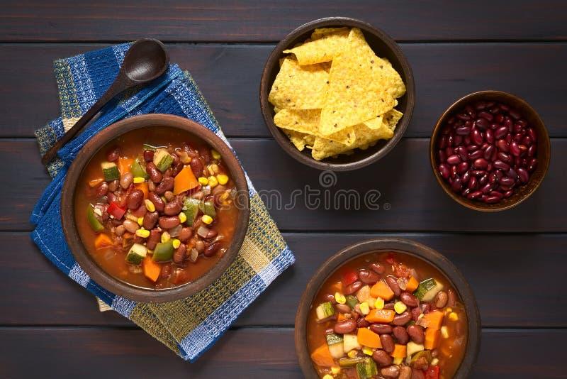 Vegetarisch Chili Dish royalty-vrije stock foto
