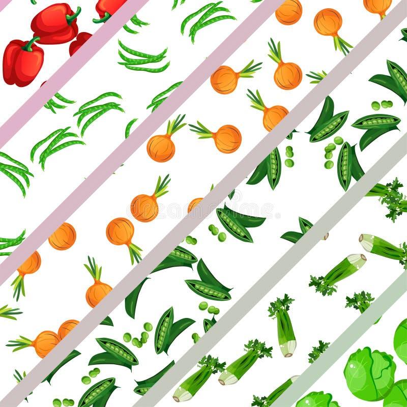Vegetarisch gezond voedsel De inzameling van groenten royalty-vrije illustratie