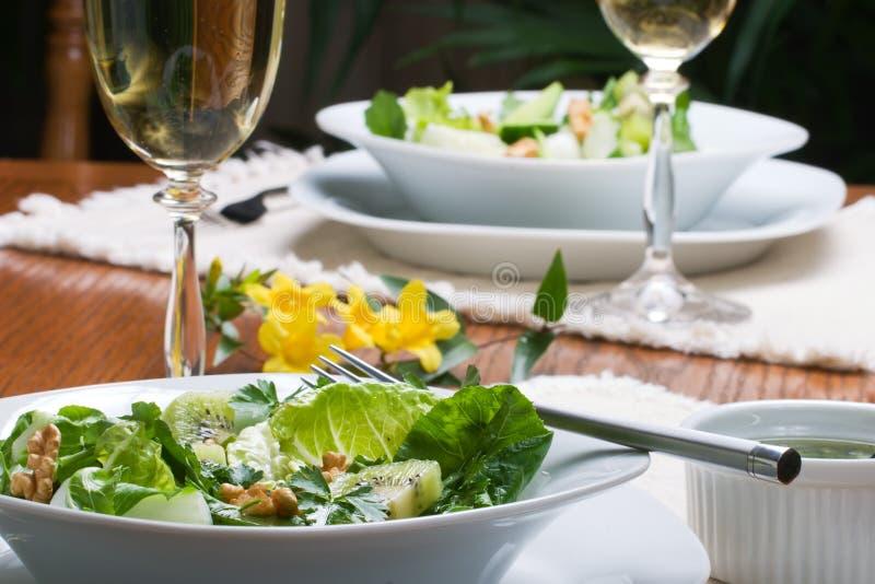 Vegetarisch groen saladediner royalty-vrije stock foto