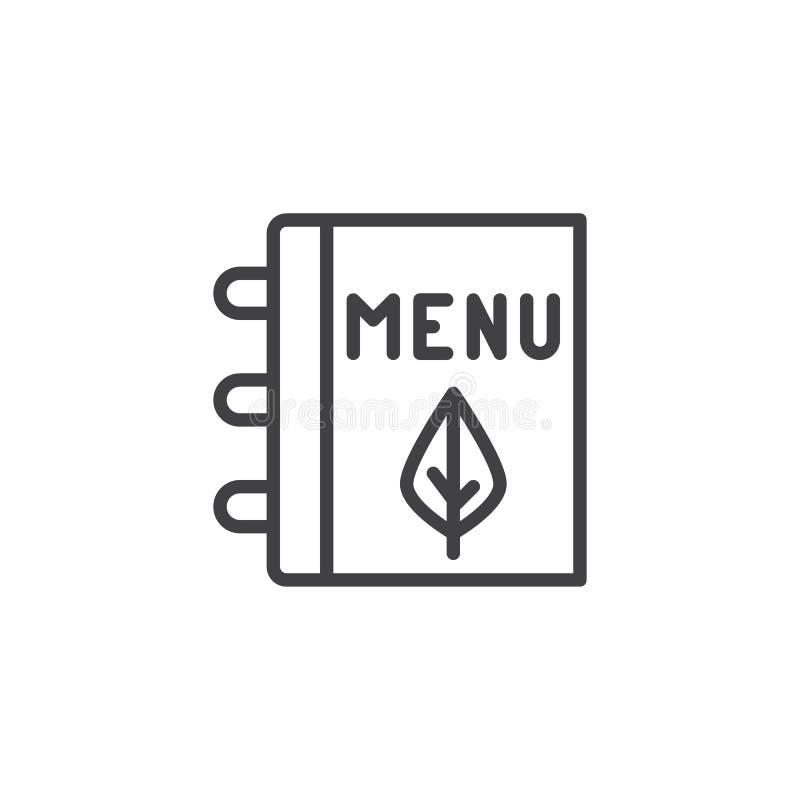 Vegetarisch het overzichtspictogram van het menuboek royalty-vrije illustratie