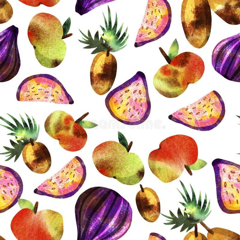 Vegetarisch patroon met vruchten en groenten stock foto