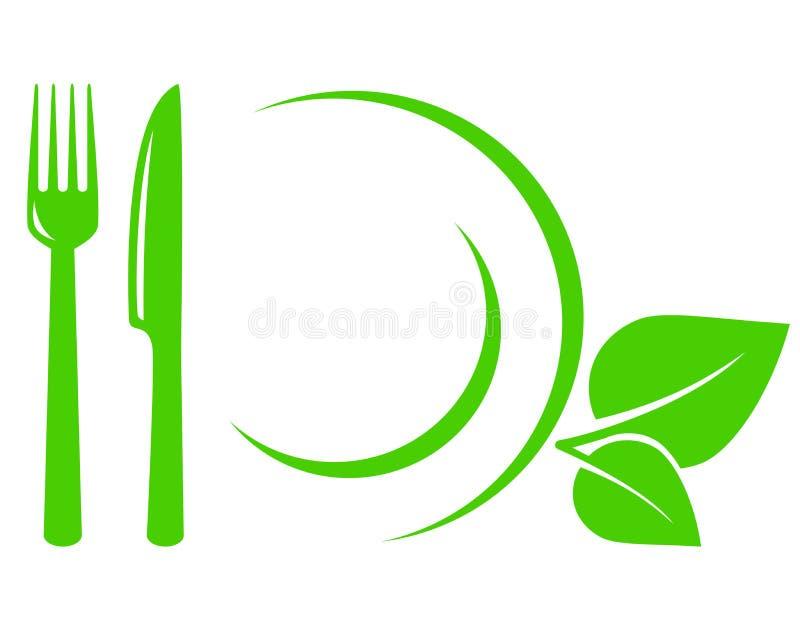 Vegetarisch pictogram met bladeren, vork en mes vector illustratie