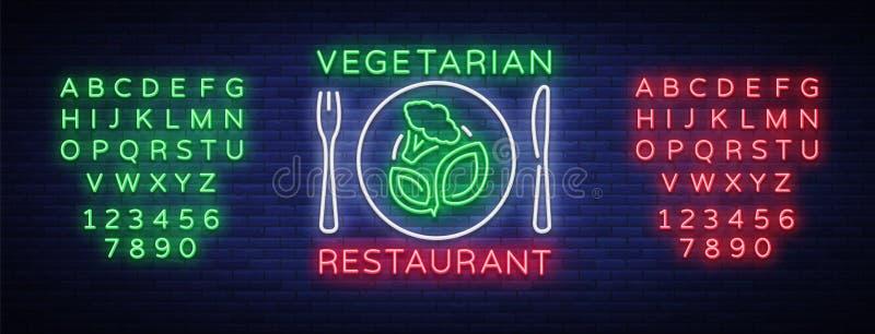 Vegetarisch restaurantembleem De veganistsymbool van het neonteken, helder lichtgevend teken die, neon, Vegetarisch gezond voedse royalty-vrije illustratie