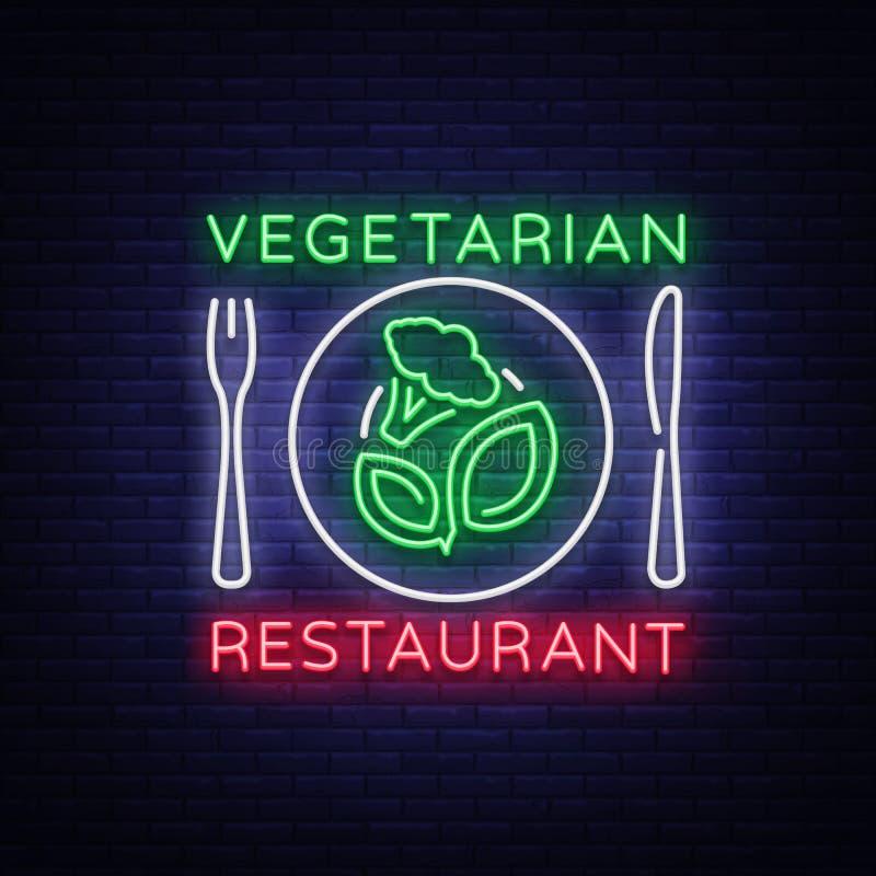 Vegetarisch restaurantembleem Neonteken, veganistsymbool die, helder lichtgevend teken, neonnacht op het thema adverteren vector illustratie