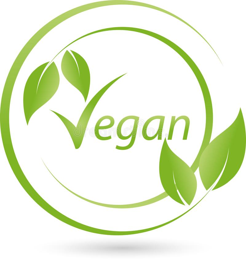 Vegetarisch symbool met bladeren, veganist en aardembleem