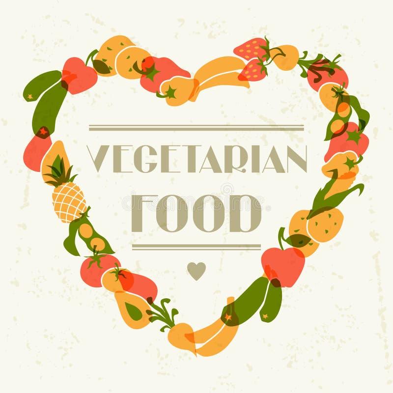 Vegetarisch voedsel Achtergrondontwerp met gestileerd royalty-vrije illustratie