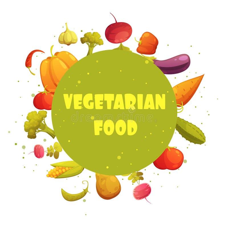 Vegetarisch Voedsel om de Affiche van de Groentensamenstelling royalty-vrije illustratie