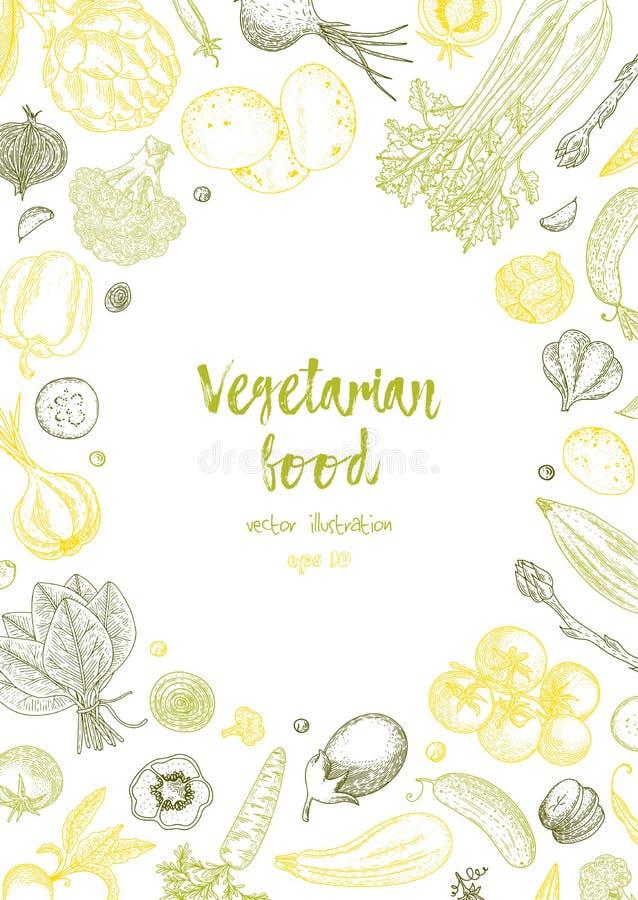 Vegetarisch voedsel Plantaardige hand getrokken uitstekende vectorillustratie De affiche van de landbouwbedrijfmarkt Het gezonde  royalty-vrije illustratie