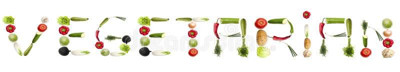 Vegetarisch woord dat van groenten wordt gemaakt stock fotografie
