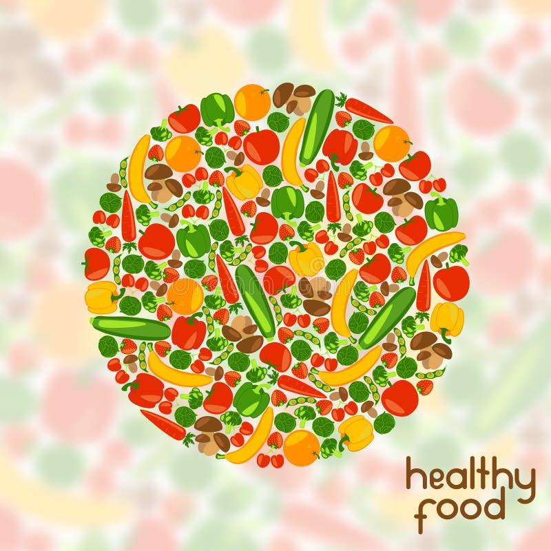 Vegetarische achtergrond Gezond voedsel vector illustratie