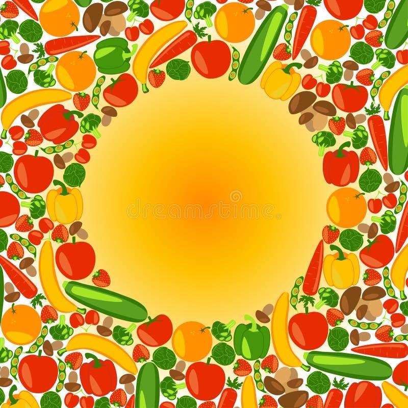 Vegetarische achtergrond Gezonde Levensstijl stock illustratie