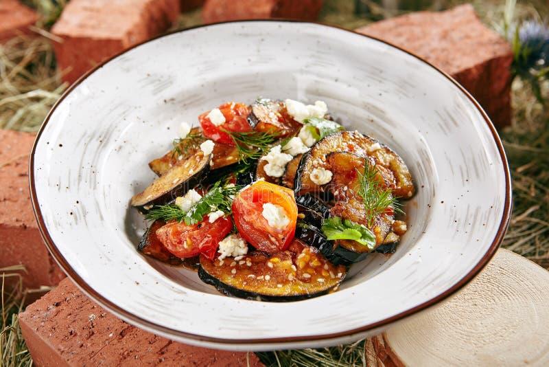 Vegetarische Auberginesalade royalty-vrije stock afbeelding