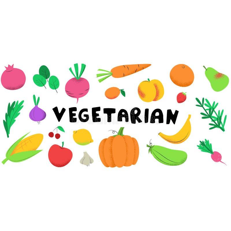 Vegetarische banner met groenten vector illustratie