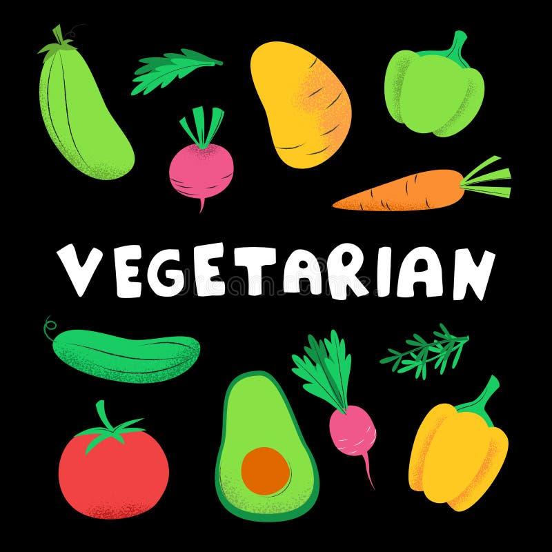 Vegetarische banner met groenten royalty-vrije illustratie