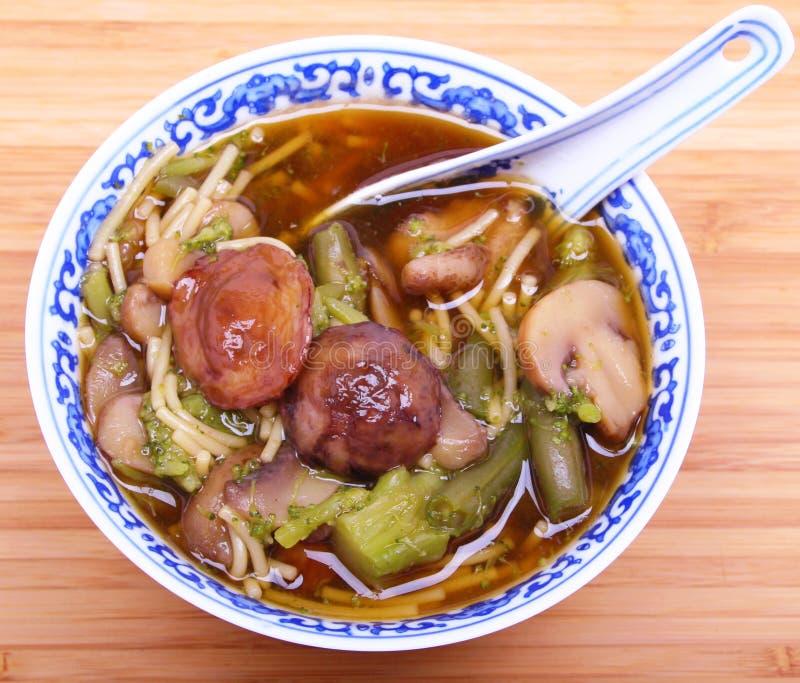 Vegetarische chinesische Suppe mit Nudeln und Pilzen lizenzfreie stockbilder
