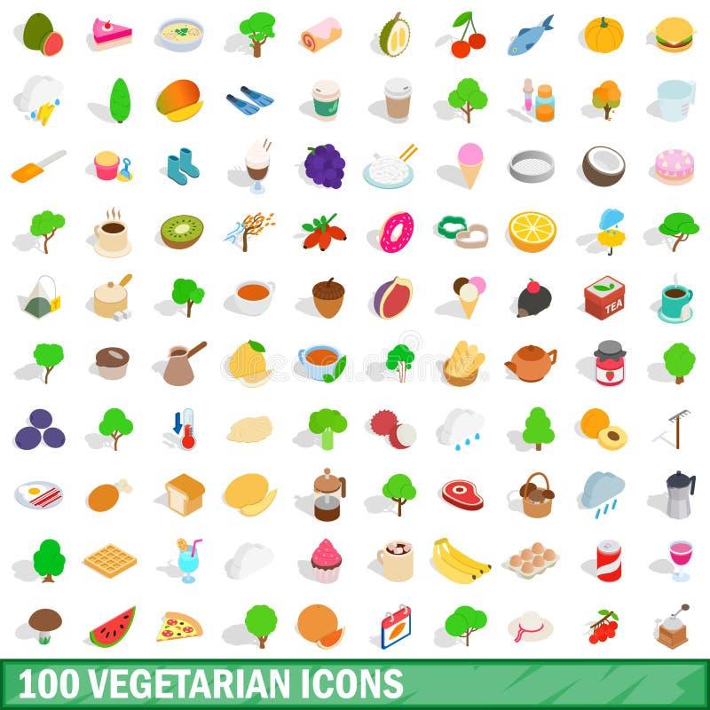 100 vegetarische geplaatste pictogrammen, isometrische 3d stijl vector illustratie