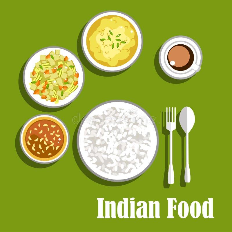 Vegetarische Indische kerrie, chutney en rijst royalty-vrije illustratie