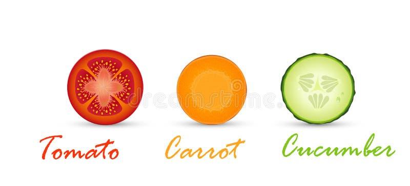 Vegetarische kleur, vegetarische verkeerslicht, tomaten, komkommer en wortelplakken, stock illustratie