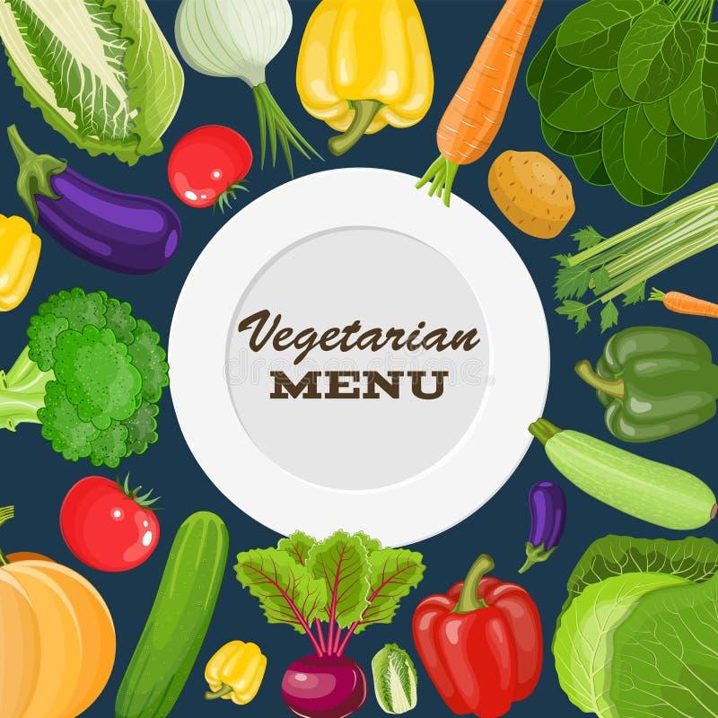 Vegetarische menudekking royalty-vrije illustratie