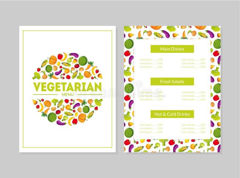 Vegetarische Menuontwerpsjabloon, Hoofdgerechten, Verse Salades, Hete en Koude Dranken, Koffie of Restaurantidentiteitsvector royalty-vrije illustratie