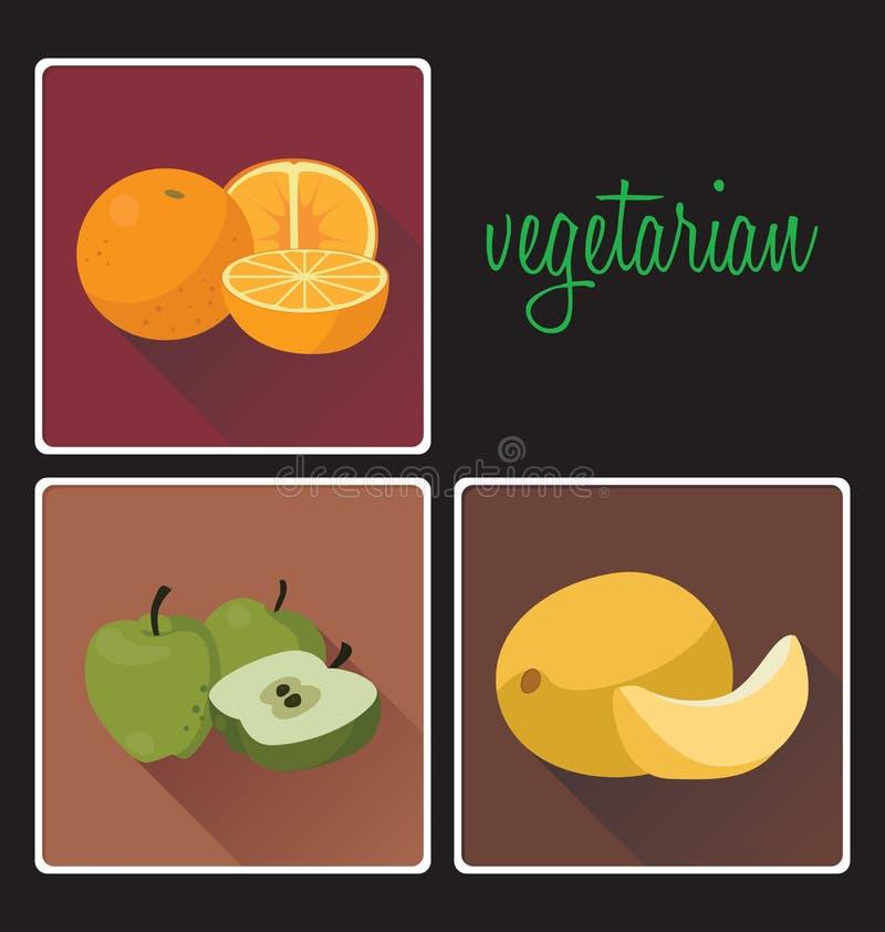 Vegetarische Nahrungsmittel: Orangen, Kantalupe, Äpfel stock abbildung