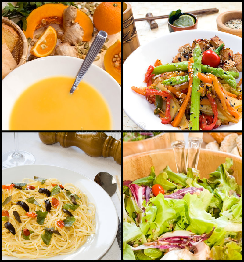 Vegetarische Nahrungsmittelcollage lizenzfreies stockfoto