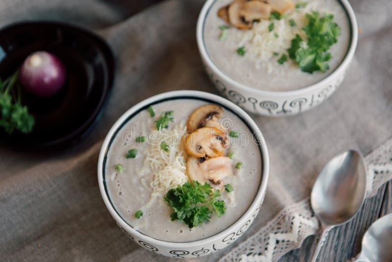 Vegetarische soep met kaas stock fotografie