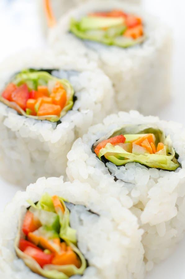 Vegetarische sushibroodjes, macro royalty-vrije stock afbeeldingen