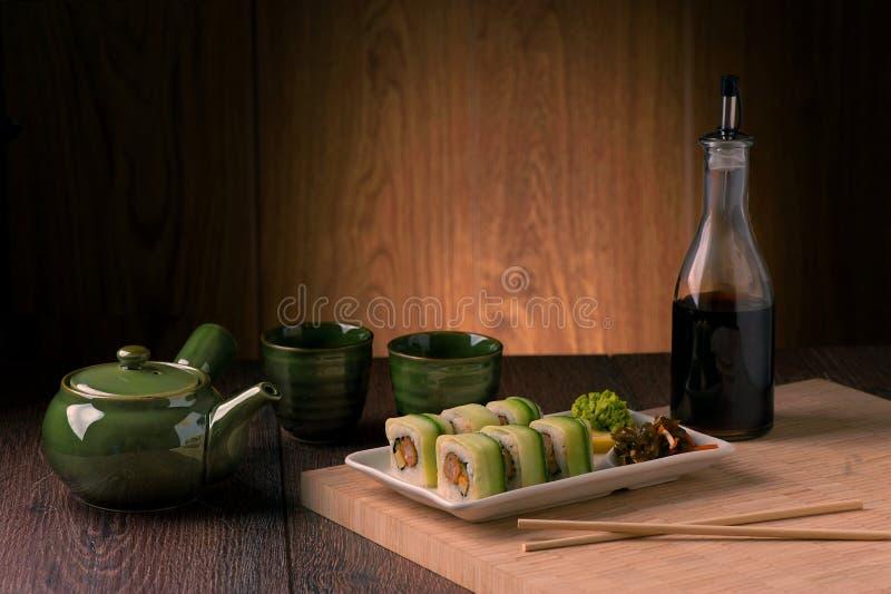Vegetarische sushireeks royalty-vrije stock afbeeldingen