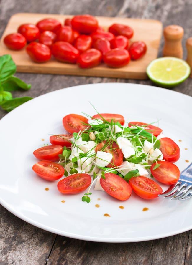 Download Vegetarische Tomatensalade Met Mozarella Stock Afbeelding - Afbeelding bestaande uit italiaans, schotel: 54088853