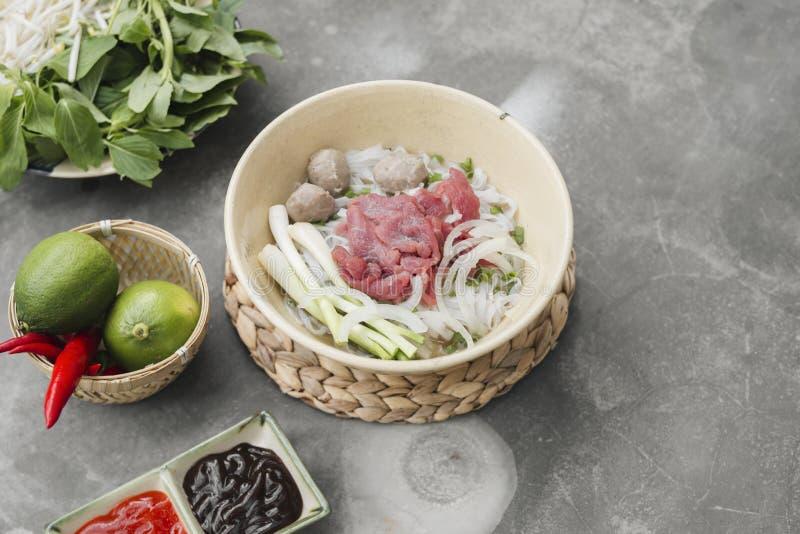 Vegetarische Vietnamese pho van de stijlsoep Traditionele Aziatische keuken stock afbeelding