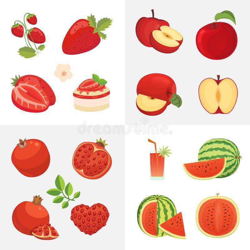 Vegetarische voedselpictogrammen in beeldverhaalstijl Rode kleuren verse organische vruchten Illustratie van de gezondheids de fr stock illustratie