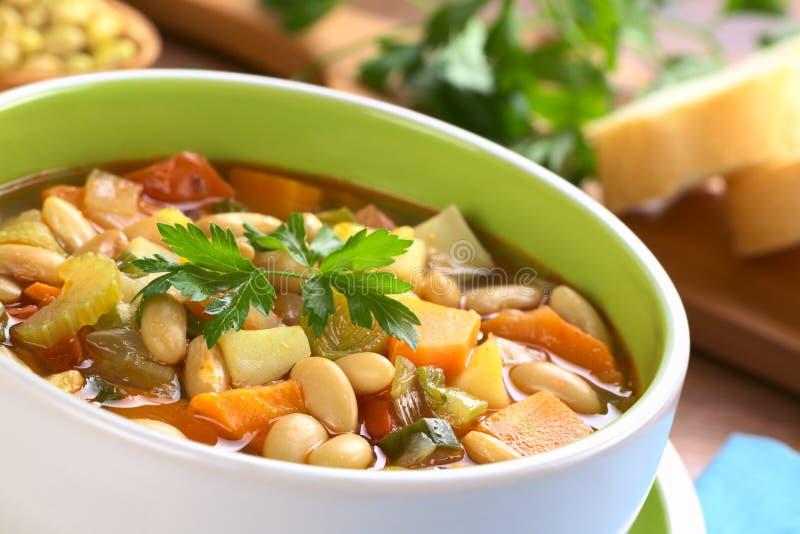 Vegetarische zitronengelbe Bohnensuppe lizenzfreie stockfotografie