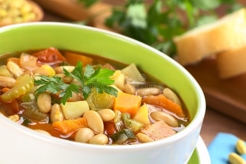 Vegetarische zitronengelbe Bohnensuppe stockfotografie