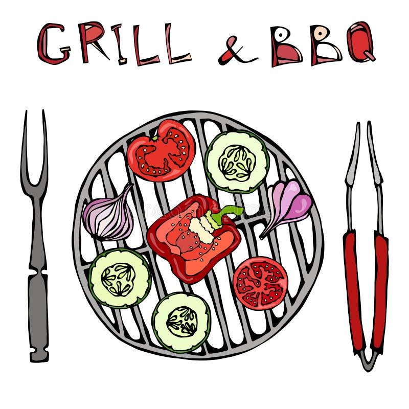 vegetarischer Grill Gemüse BBQ Picknick und Grill-Gerätezangen und -gabel Tomate, grüner Pfeffer, Zwiebel, Knoblauch und Zucchini lizenzfreie abbildung