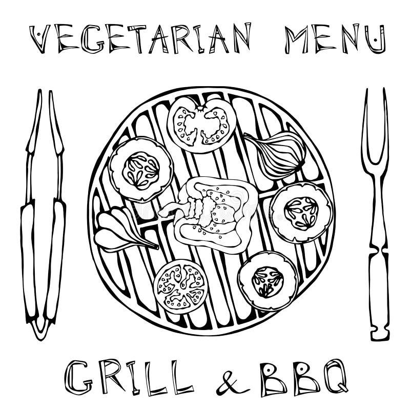 vegetarischer Grill Gemüse BBQ Picknick und Grill-Gerätezangen und -gabel Tomate, grüner Pfeffer, Zwiebel, Knoblauch und Zucchini vektor abbildung