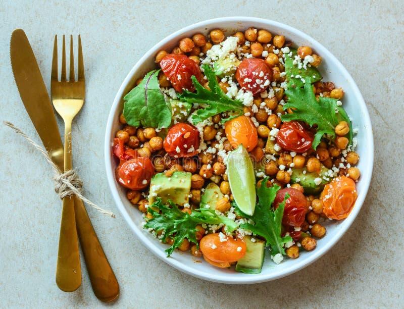 Vegetarischer Kichererbsensalat Nahrhaft, Gemüse stockbild