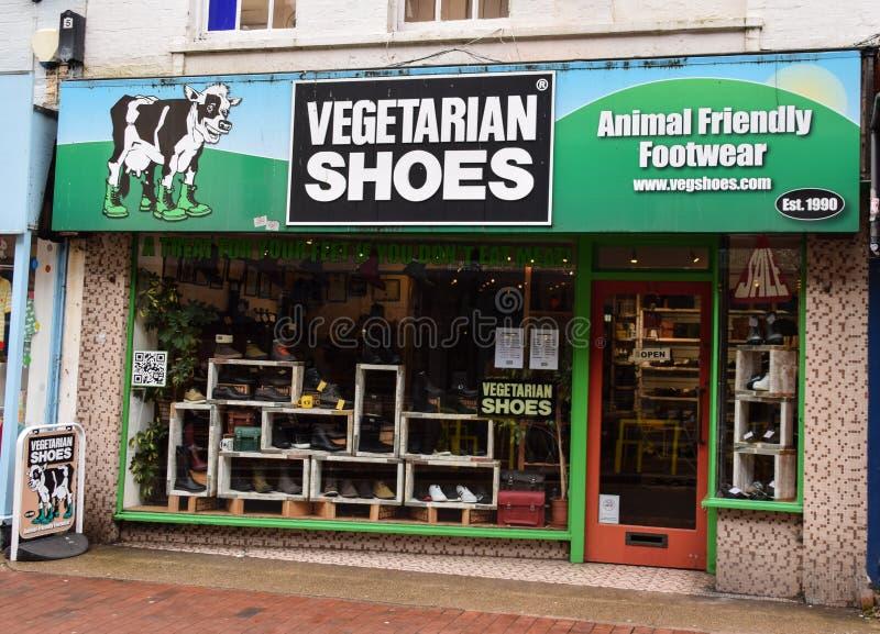 Vegetarischer Schuhshop lizenzfreies stockfoto