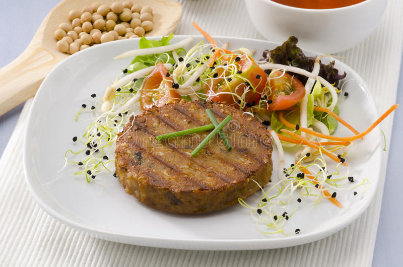 Vegetarischer Tofuburger. stockbild