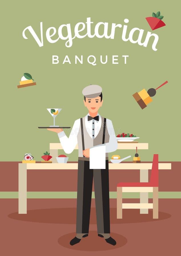 Vegetarisches Bankett-versorgendes flaches Vektor-Plakat lizenzfreie abbildung