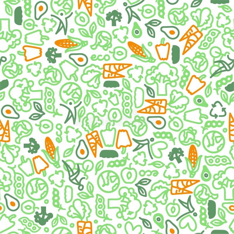 Vegetarisches nahtloses Muster des grünen Gemüses vektor abbildung