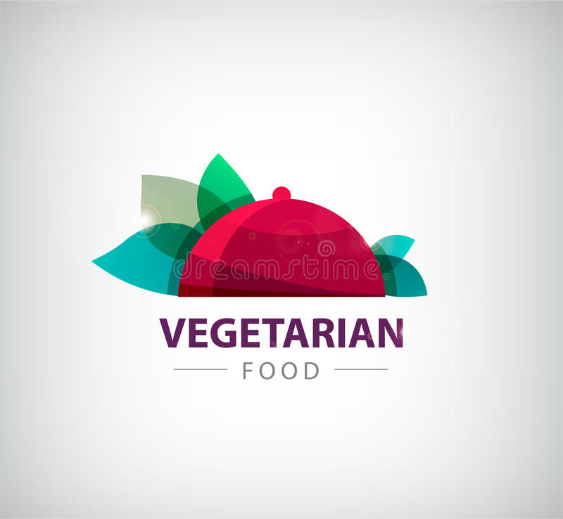 Vegetarisches Restaurantlogo des Vektors, Ikone lizenzfreie abbildung