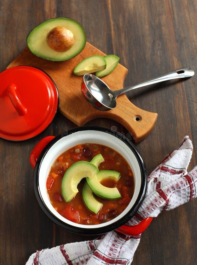 Vegetarisk chilisoup royaltyfri fotografi